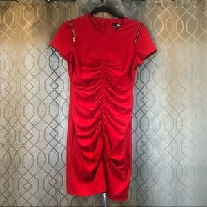 Miss Sixty Red Hot Ruched Mini Dress